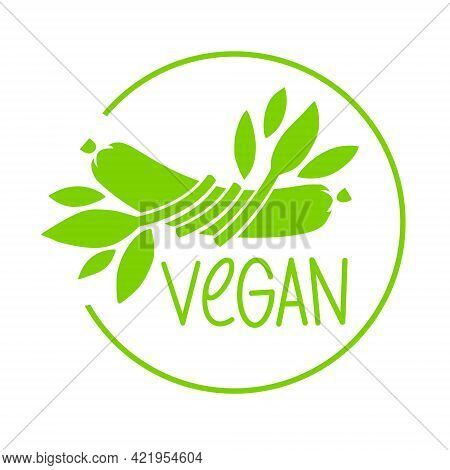 Plant Based Meat Concept. Vegan Product. Sausage Entwined With Plant Leaves. Organic Natural Vegetar