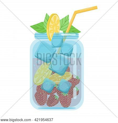 Soft Drinks, Fruit Cocktails Strawberries With Orange, Carbonated Soft Drink In A Glass Jar Decorate