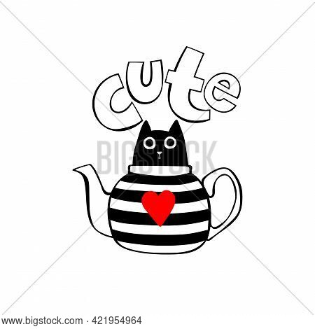 Cute. Cartoon Cat. Cat In Teapot. Isolated Vector Object On White Background.