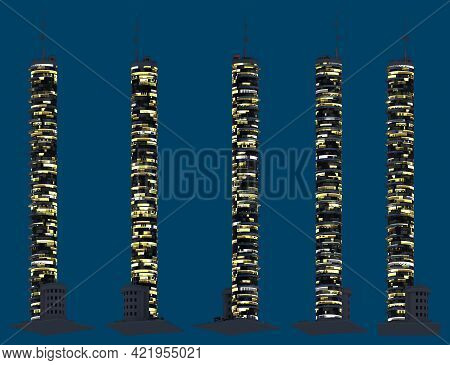 Modern Fictional Skyscrapers At Night With Glowing Lights, Isolated Bottom View Metropolitan Night C