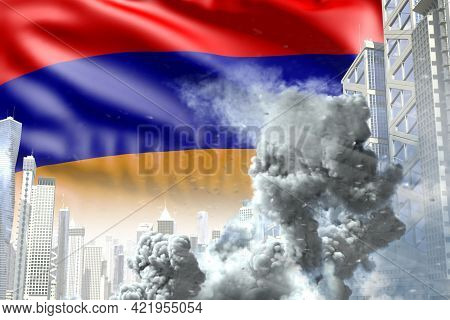 Big Smoke Pillar In Abstract City - Concept Of Industrial Disaster Or Terroristic Act On Armenia Fla