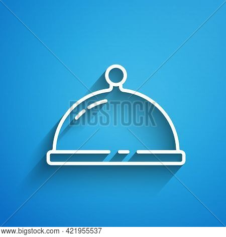 White Line Covered With A Tray Of Food Icon Isolated On Blue Background. Tray And Lid. Restaurant Cl
