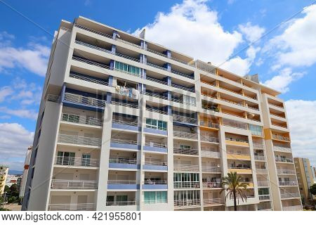 Portimao, Portugal - May 28, 2018: Mixed Use Apartment And Hotel Building In Algarve Region, Portuga