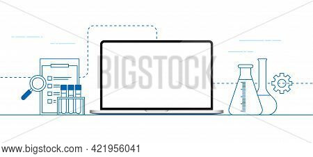 Scientific Banner Vector Design With A Laptop.