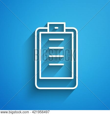 White Line Clipboard With Checklist Icon Isolated On Blue Background. Control List Symbol. Survey Po