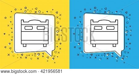 Set Line Bedroom Icon Isolated On Yellow And Blue Background. Wedding, Love, Marriage Symbol. Bedroo