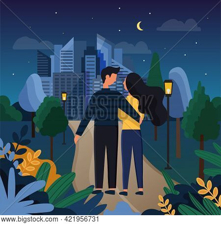 Cute Couple In Love Having A Romantic Date In Park At Night. Male And Female Characters Hugging In C