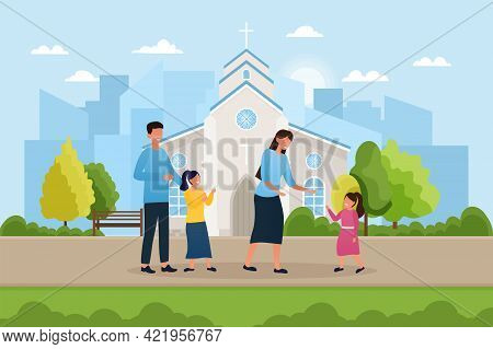 Cute Family Is Standing Near City Church Building. Parents With Little Children Outside. Concept Of