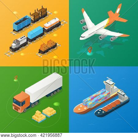 Freight Industry Logistics And Transportation. Concept Of Global Logistics Network. Set Of Planes, W