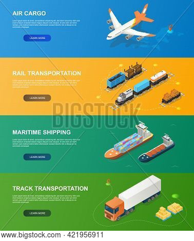 Freight Industry Logistics And Transportation With Different Vehicles. Concept Of Global Logistics N