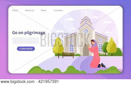 Kneeling Female Pilgrim Reached Christian Cathedral And Praying. Concept Of Christian Pilgrimages Vi