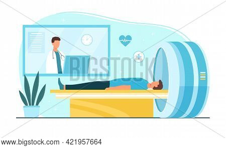 Male Doctor Is Doing Brain Scan On Mri Machine For Patient. Male Character Lies In Computer Tomograp