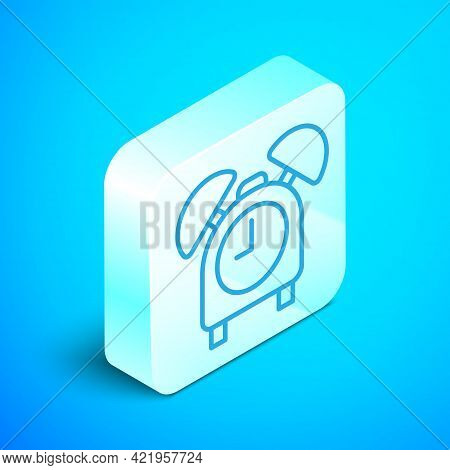 Isometric Line Alarm Clock Icon Isolated On Blue Background. Wake Up, Get Up Concept. Time Sign. Sil