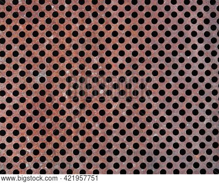 Perforated Metal Plate With Many Holes. Paint On Metal. Metal Background