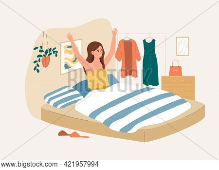 Young Female Character Is Waking Up In Morning Feeling Happy. Person Sitting On Bed And Stretching A