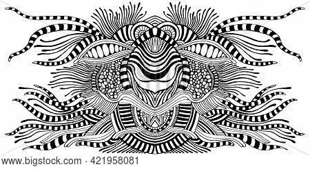 Surreal Fantastic Coloring Page Abstract Pattern, Maze Of Ornaments.