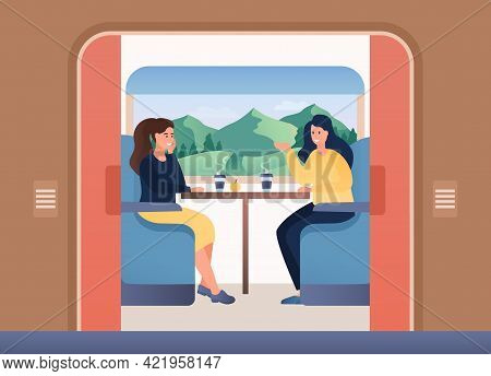 Happy People Enjoing Traveling By Train. Two Female Characters Sitting Near Window During Trip With