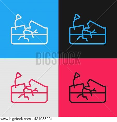 Pop Art Line Earthquake Icon Isolated On Color Background. Vector