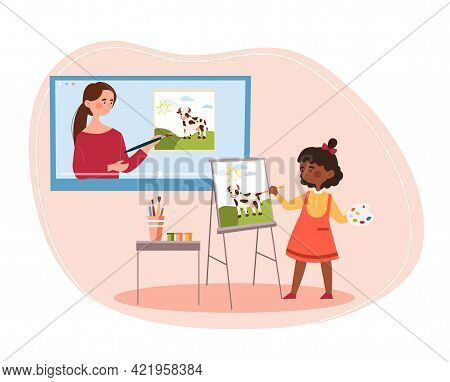 Young Cute Girl Attending Online Drawing Class At Home With A Female Teacher. Young Tutor Pointing A