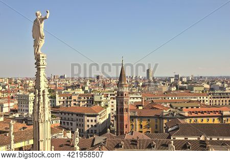 View Of Milan From The Duomo, Italy