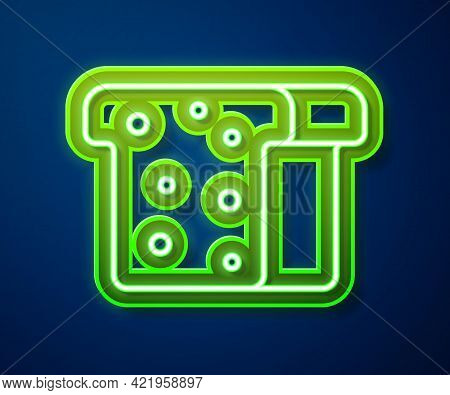 Glowing Neon Line Bread Toast For Sandwich Piece Of Roasted Crouton Icon Isolated On Blue Background