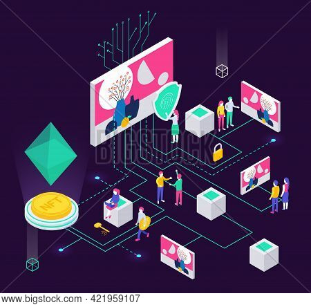 Cryptographic Art Crypto Art Nft Isometric Composition With Human Characters And Holographic Objects