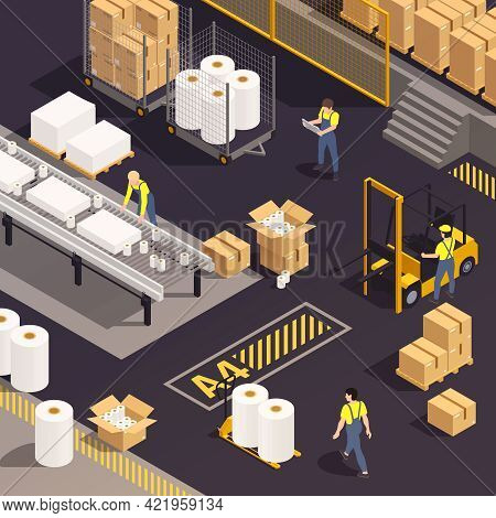Isometric Paper Production Composition People In Production Work In A Paper-making Shop Vector Illus