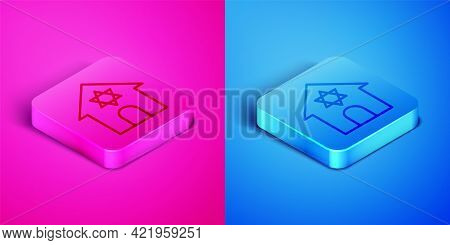 Isometric Line Jewish Synagogue Building Or Jewish Temple Icon Isolated On Pink And Blue Background.