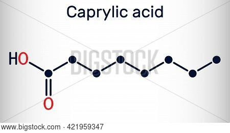 Caprylic Acid, Octanoic Acid  Molecule. It Is Straight-chain Saturated Fatty And Carboxylic Acid. Sa