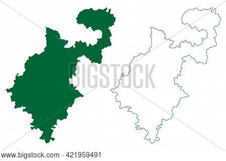 Nanded District (maharashtra State, Aurangabad Division, Republic Of India) Map Vector Illustration,