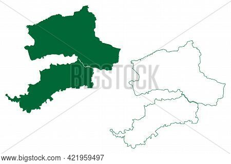 Nandurbar District (maharashtra State, Nashik Division, Republic Of India) Map Vector Illustration,