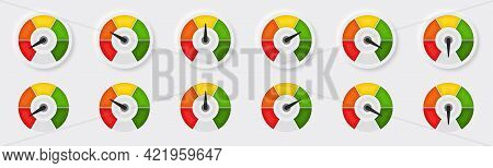 A Set Of Buttons With A Speedometer Or Tachometer. Symbol With A Scale Of Performance Measurement Fr