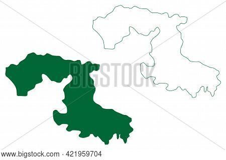 Osmanabad District (maharashtra State, Aurangabad Division, Republic Of India) Map Vector Illustrati