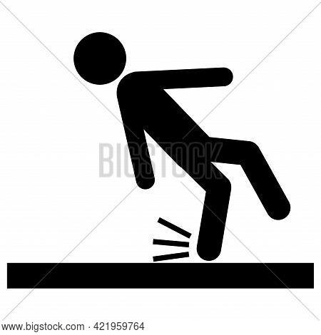 Beware Slippery Surface Symbol Isolate On White Background