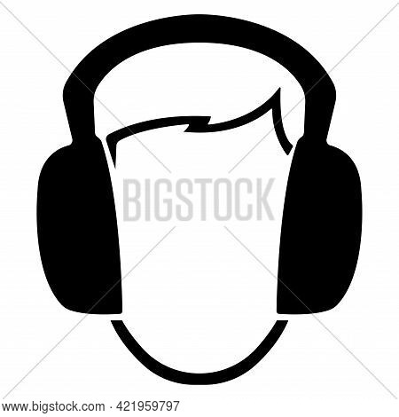 Symbol Wear Ear Muff Sign Isolate On White Background