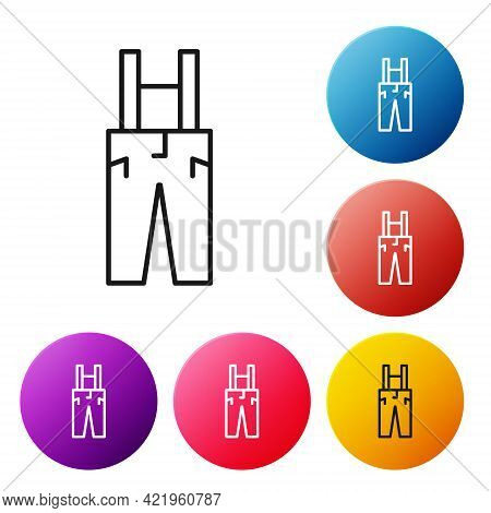 Black Line Pants With Suspenders Icon Isolated On White Background. Set Icons Colorful Circle Button