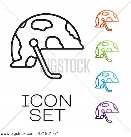 Black Line Military Helmet Icon Isolated On White Background. Army Hat Symbol Of Defense And Protect