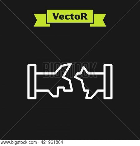 White Line Broken Metal Pipe With Leaking Water Icon Isolated On Black Background. Vector