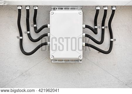 External Electrical Junction Box With Corrugated Cable Channels And Wires. Professional Wire Insulat
