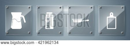 Set Cutting Board, Frying Pan, Paper Package For Milk And Jug Glass With Water. Square Glass Panels.