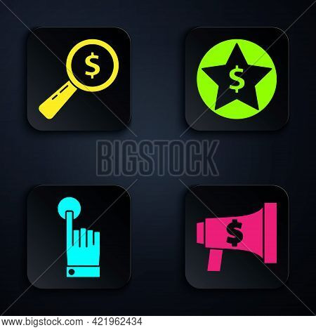 Set Megaphone And Dollar, Magnifying Glass And Dollar, Hand Touch And Tap Gesture And Star And Dolla