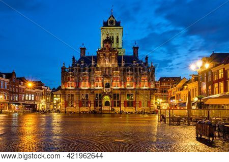 Delft City Hall and Delft Market Square Markt in the evening. Delfth, Netherlands