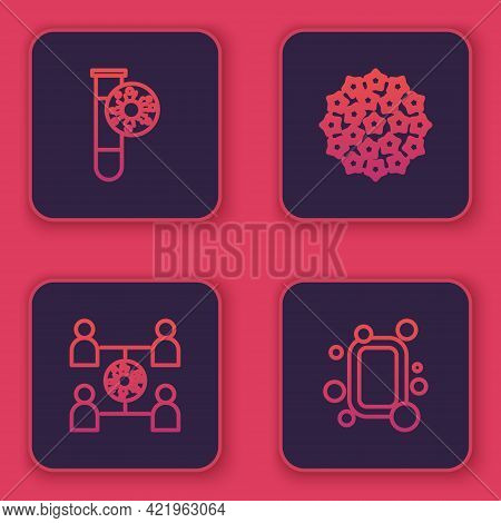 Set Line Test Tube With Virus, Virus Spread, And Bar Of Soap. Blue Square Button. Vector