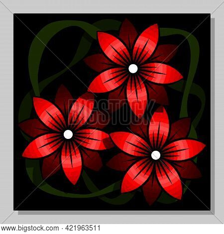 Abstract Composition With Red Flowers On A Black Background.  Wall Art, Poster Design.