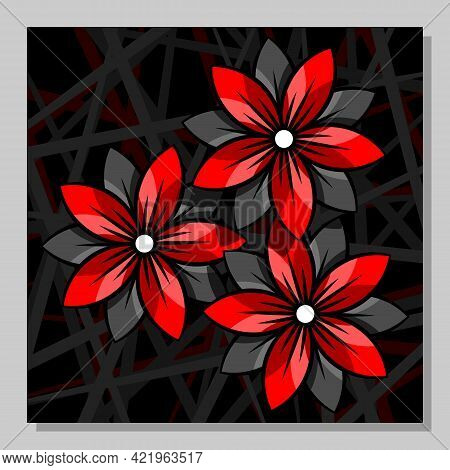 Stylized Red Flowers On An Abstract Background. Wall Art, Poster Design.