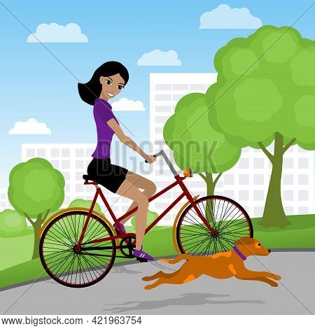 Smiling Young Woman On A Bike In The Park With Her Dog. Vector Illustration.
