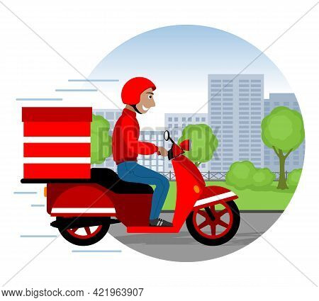 Food Delivery Man On A Red Scooter Wearing A Helmet. Vector Illustration.