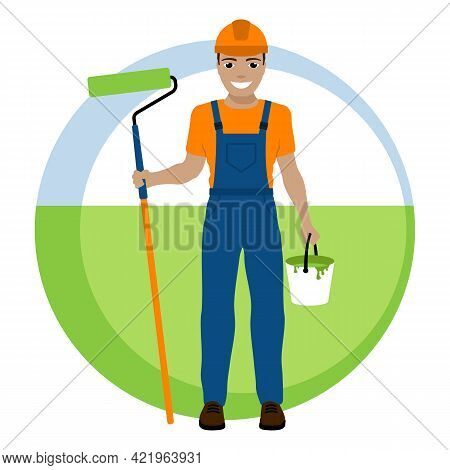 Smiling Worker Painter In A Safety Helmet And With A Roller. Vector Illustration.