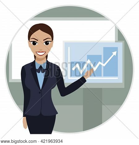 Smiling Female Financier Demonstrates A Profit Growth Chart. Business Woman Cartoon Character. Vecto