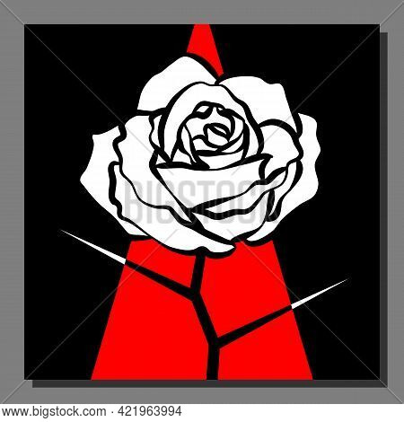 Stylized White Rose On An Abstract Red Black Background. Vector Illustration.